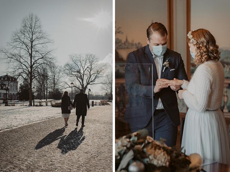 standesamt hanau schloss philippsruhe winterhochzeit heiraten hochzeitsfotografin nidderau winterbraut schnee